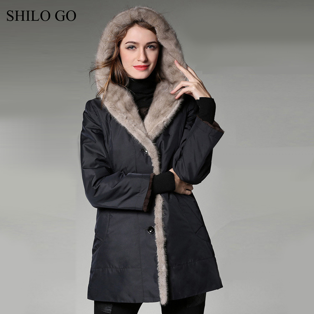 5XL New Women Winter Wine Red Black Jacket Coats Thick Parkas Plus Size Real black Mink Collar Lining Hooded Outwear Fur Coat