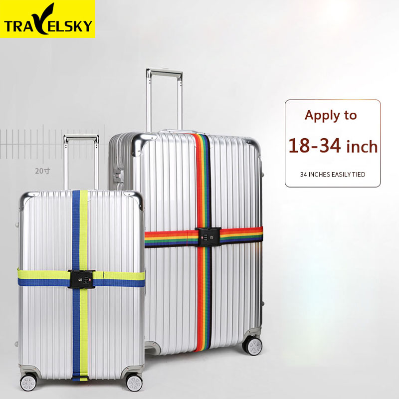 2pcs Travelsky 2019  New Travel Luggage Strap Adjustable Lengthened Suitcase Cross Belt Password Lock Buckle Strap Baggage Belts