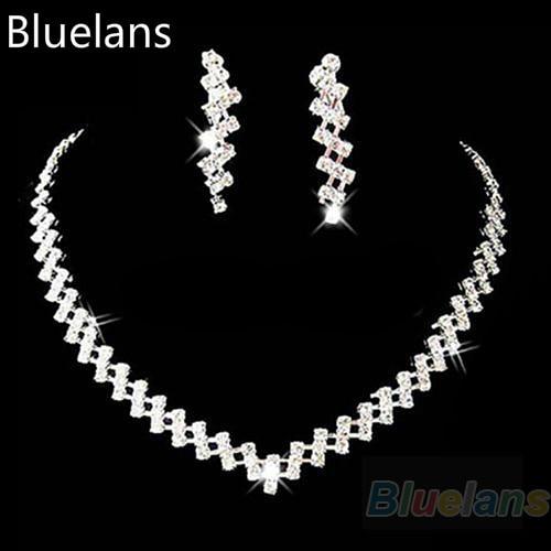 Venta caliente 2017 Nueva Moda Nupcial Boda Prom Mujeres Joyería Crystal Rhinestone Diamante Collar y Aretes Set Bluelans
