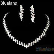 hot sell 2017 New Fashion Bridal Wedding Prom Women Jewelry Crystal Rhinestone Diamante Necklace & Earring Set Bluelans