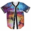 Incrível glaxy baseball jerseys new hip hop streetwear eua tamanho botões clothing homme camisa marca de impressão 3d