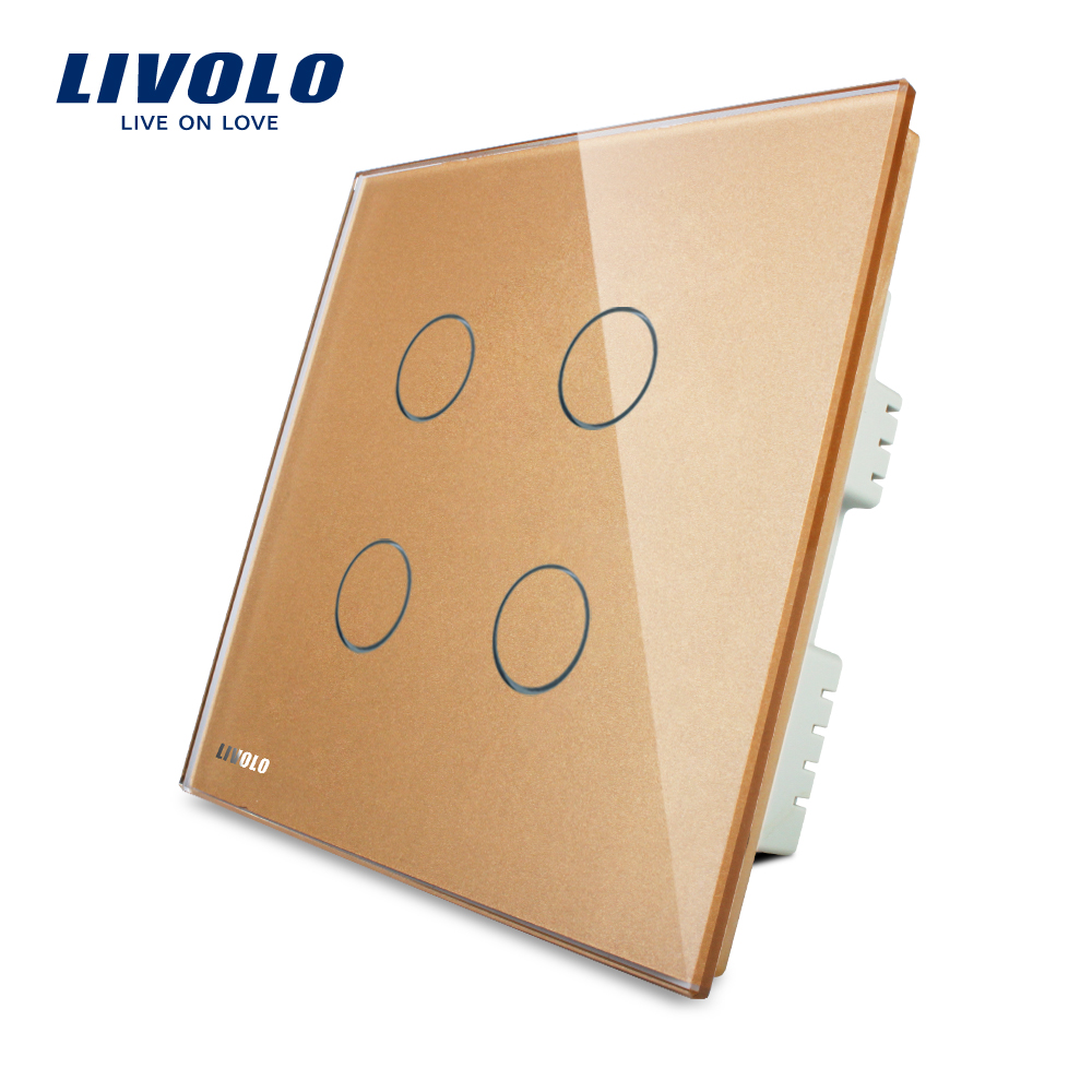 Livolo UK standad  4gang Wall Light Touch Switch,AC 220-250V ,Golden Crystal Glass Panel, VL-C304-63 2017 smart home crystal glass panel wall switch wireless remote light switch us 1 gang wall light touch switch with controller