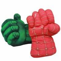 2 قطع القطن الهيكل قصيرة أفخم لعبة سبايدرمان خارقة الأخضر العملاق سوبرمان الملاكمة قفاز الاطفال لعبة للأطفال هدية حمراء وخضراء
