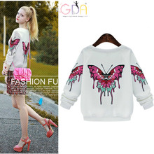 GDA.2016Women New Pullovers Spring&Autumn Sleeve Back Big Colourful Butterfly embroidery Women Blouse Large size 5XL Blusas Z
