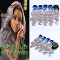 Ombre Hair Extensions Ombre Brazilian Virgin Hair T1B/Grey Brazilian Body Wave Ombre Brazilian Human Hair Bundles With Closure