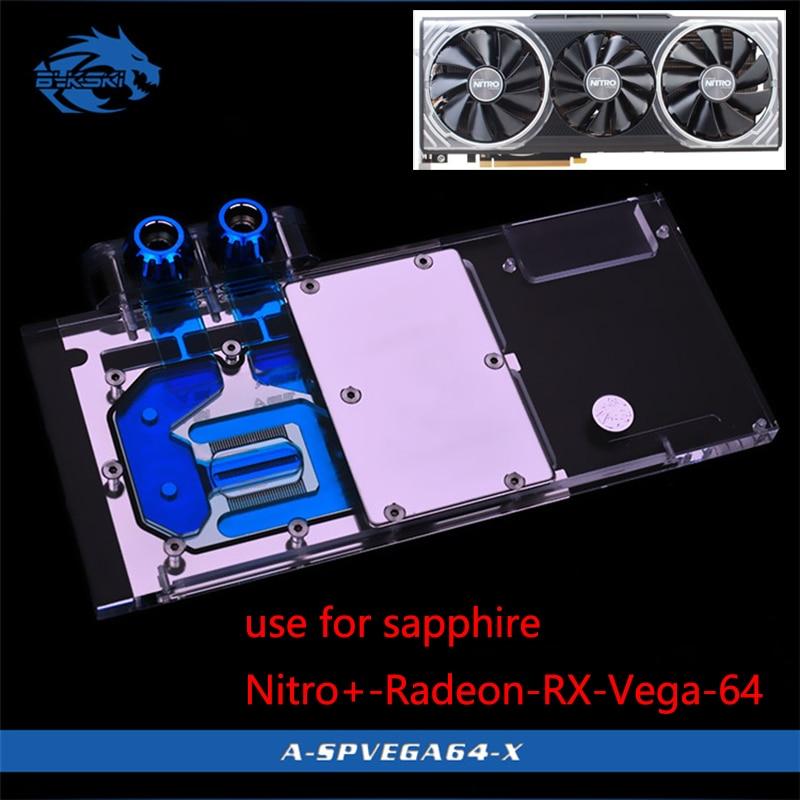 Bykski Bloc D'eau pour Sapphire Nitro + Radeon RX Vega 64 8 gb HBM2 (11275-03-40G) couverture complète GPU Bloc De Cuivre Radiateur RVB