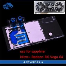 Bykski bloc deau pour Sapphire Nitro + Radeon RX Vega 64 go, HBM2 (11275 03 40G), couverture complète, bloc radiateur en cuivre GPU
