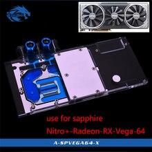 Bykski bloque de agua para Nitro de zafiro Radeon RX Vega 64, 8GB, HBM2 (11275 03 40G), cubierta completa, bloque de cobre GPU, radiador RGB