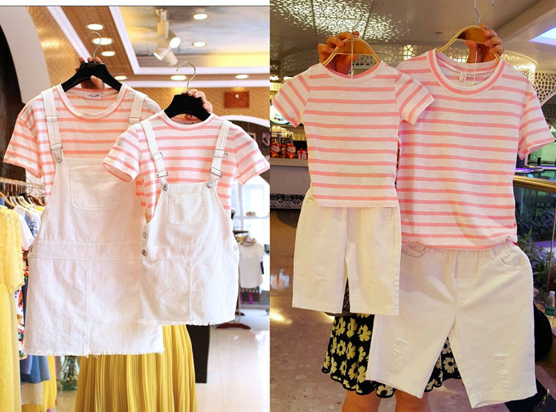 Family Matching Mother&Daughter Overalls dress sets father&son T-shirt stripe set Family Look Outfits parents and kids Clothing matching family clothing set 2015 autumn style winter family look matching mother daughter father son long sleeve sweater set