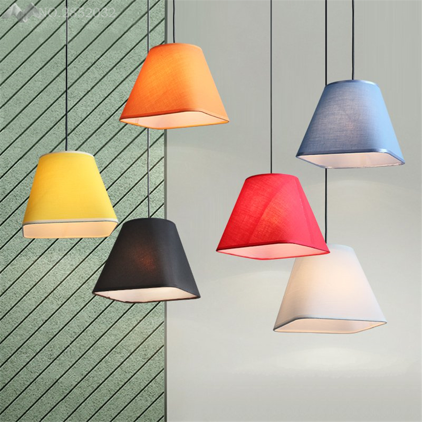 Nordic Modern Colorful Cloth Pendant Lamp Fabric Lamshade Lights For Living Room Bedroom Bar Cafe Home