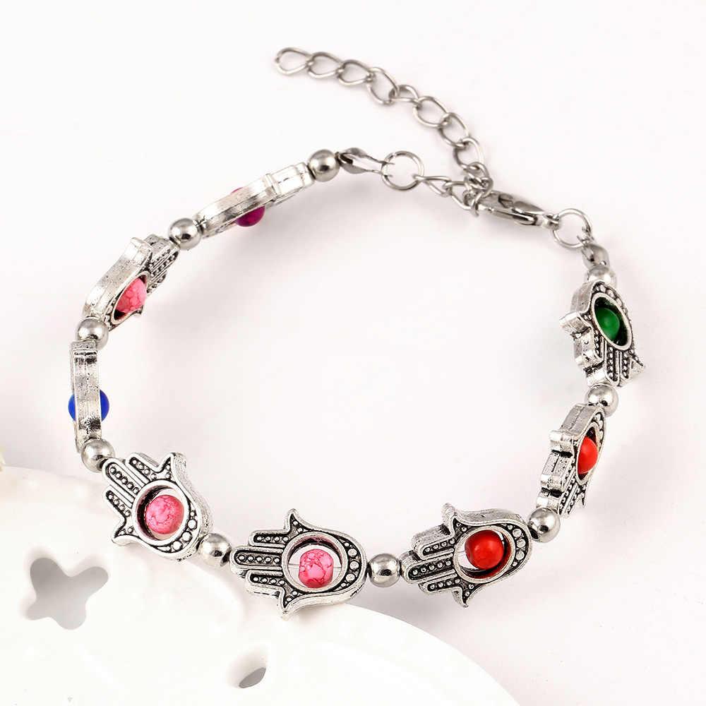 Beaded Bracelet Turkish Evil Eye Amulet Charm Hand Of Fatima Silver Link Chain Bangles Women Men Adjustable Wristbands Jewelry