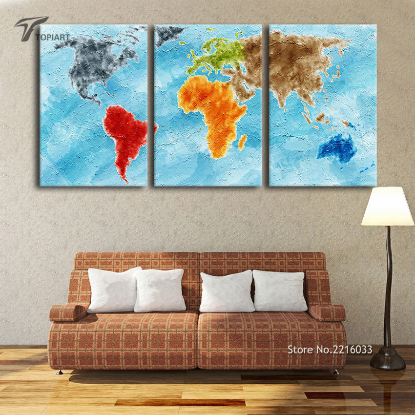 Large wall art canvas print turquoise world map on grunge vintage large wall art canvas print turquoise world map on grunge vintage home decor paintings for living room office 3 panel no frame in painting calligraphy sciox Images