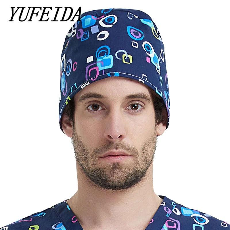 YUFEIDA Unisex Medical Caps Printing Cartoon Caps Doctor And Nurse Working-wear Unisex Hospital Workwear