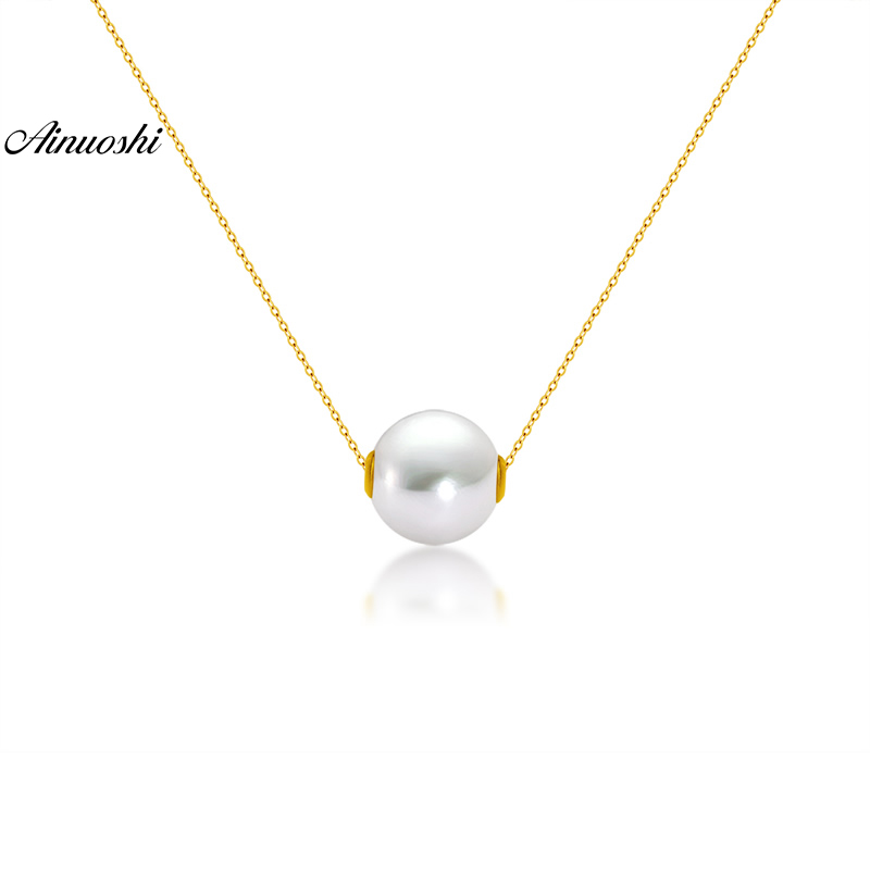 AINUOSHI 18K Yellow Gold Natural Cultured Freshwater Pearl Trendy Gold Music Pendant Necklace for Lady Birthday