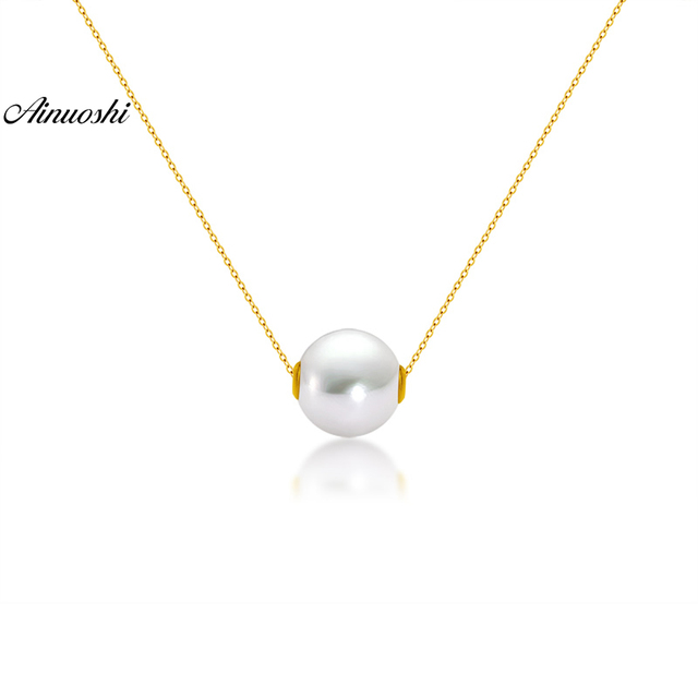 AINUOSHI 18K Yellow Gold Natural Cultured Freshwater Pearl Trendy Gold Music Pendant Necklace for Lady Birthday Link Chain Gift