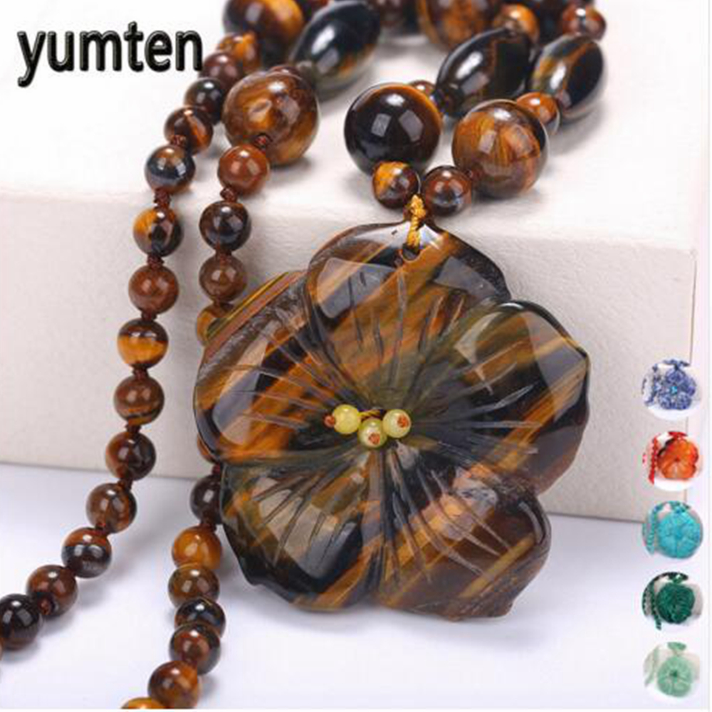 5*5CM Natural Women Necklace Men Flowers Pendant Crystal Power Female Short Amber Necklace Statement Fine Jewelry Fashion Gift