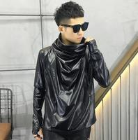 Autumn new long sleeve jacket loose Fashion Men leather t shirt male tide solid color high collar PU leather personality t shirt
