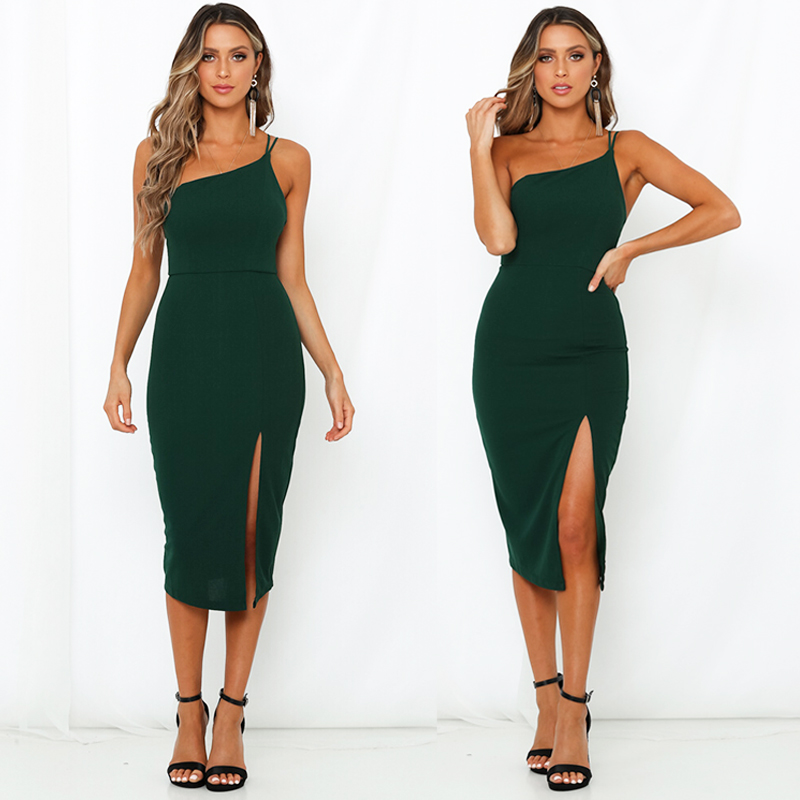 HTB1my.se8WD3KVjSZKPq6yp7FXaw Evening Party  Dress vestidos Women Backless One Shoulder Split Bodycon  Strap Christmas Red  Dresses 2019 New Arrivarls