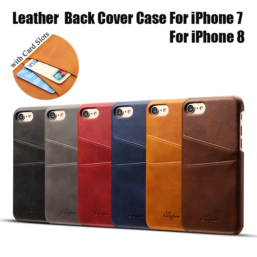 KIP71157_1_Slim Leather Back Cover For iPhone 7 8 Cow Case Ultra Thin Wallet Card Holder Back Covers For iPhone 7 Plus 8 Plus