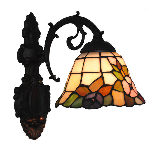 Us 119 99 Classic Tiffany Flowers Pattern Wall Light E26 E27 Modern Retro Mirror Stained Glass Wall Sconces Corridor Bedroom Lighting W322 In Wall