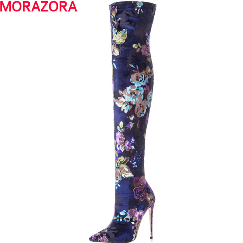 MORAZORA hot sale popular the knee boots fashion flower new arrive autumn winter high heels shoes boots female big size 34-43