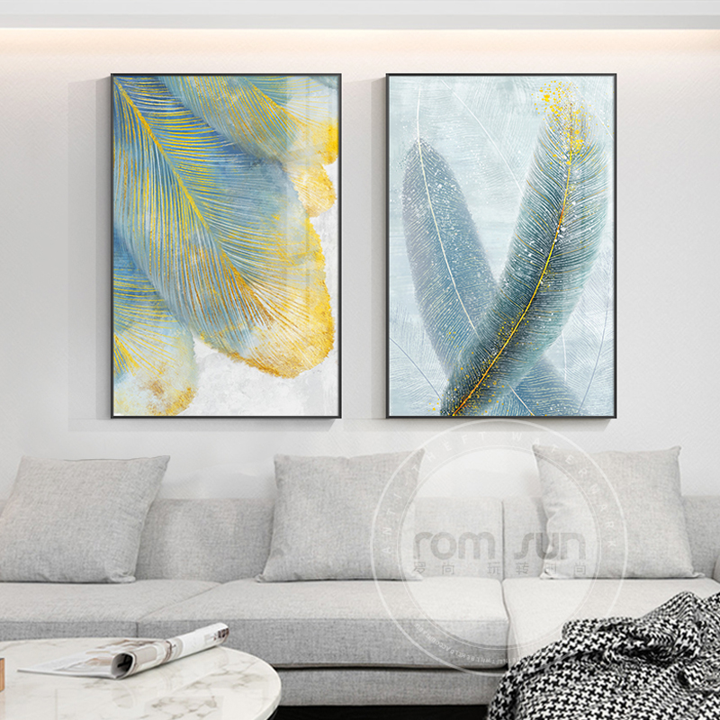 Nordic Whit Yellow Feather Canvas Green Poster Print Modern Wall Art Picture Home Decor for Living Room Entrance Abstract Cuadro