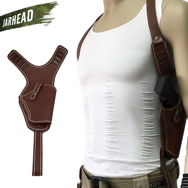 Vertical Genuine Leather Cowhide Holster Invisible Shoulder Right Hand Gun Holster Hide Pistol Shooting