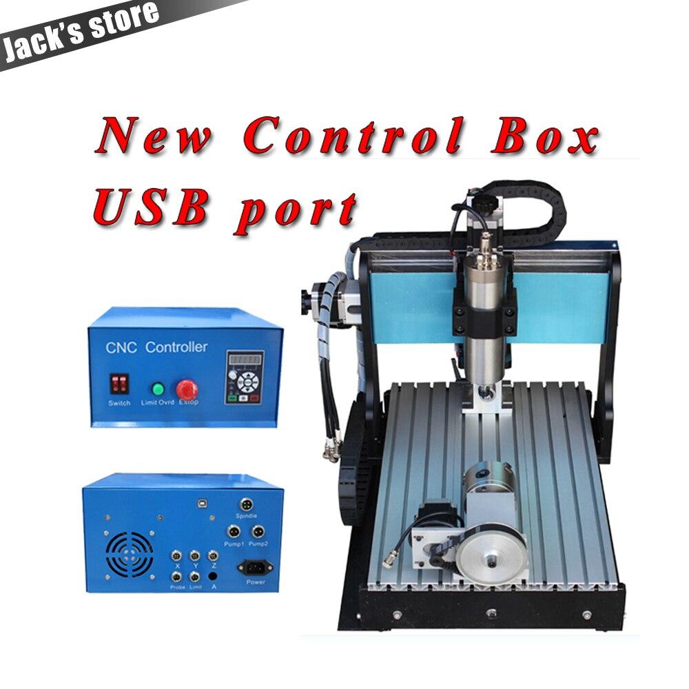 USB port!!! 3040Z-S + + (4-axis), CNC 3040 800 WSpindle + 1.5kw VFD CNC Routeur à l'eau de refroidissement + 4 axe En Métal machine de gravure CNC3040