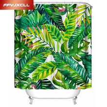 Pastoral Plant Painted Banana Leaves Waterproof Shower Curtain Creative Bathroom Home Hotel With 12 pcs Hook