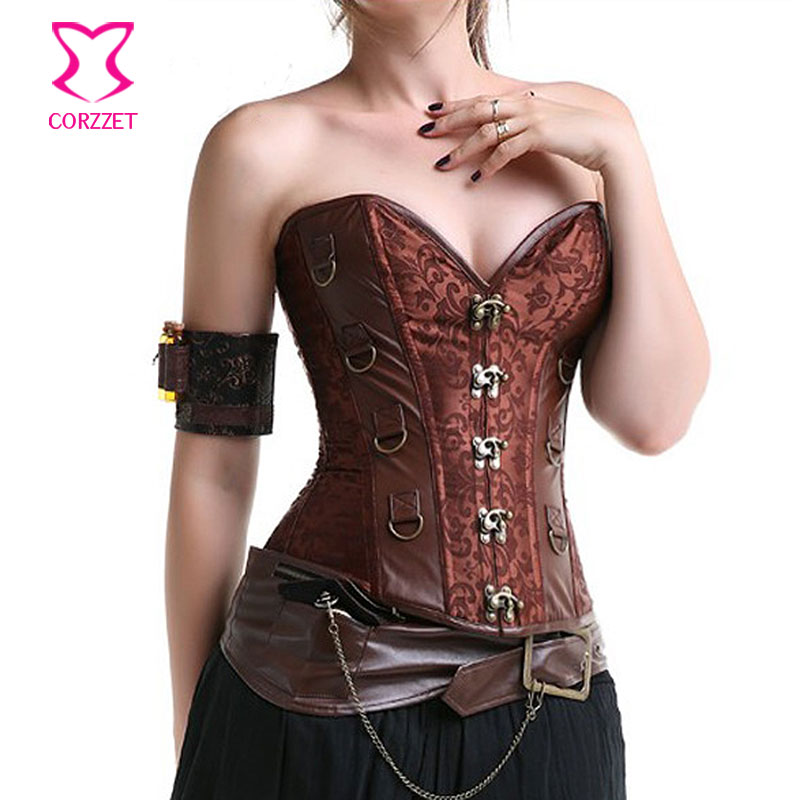 Brown Vintage   Corsets   And   Bustiers   Gothic Steel Boned   Corset   Overbust Steampunk Clothing Women Plus Size Burlesque Costumes 6XL