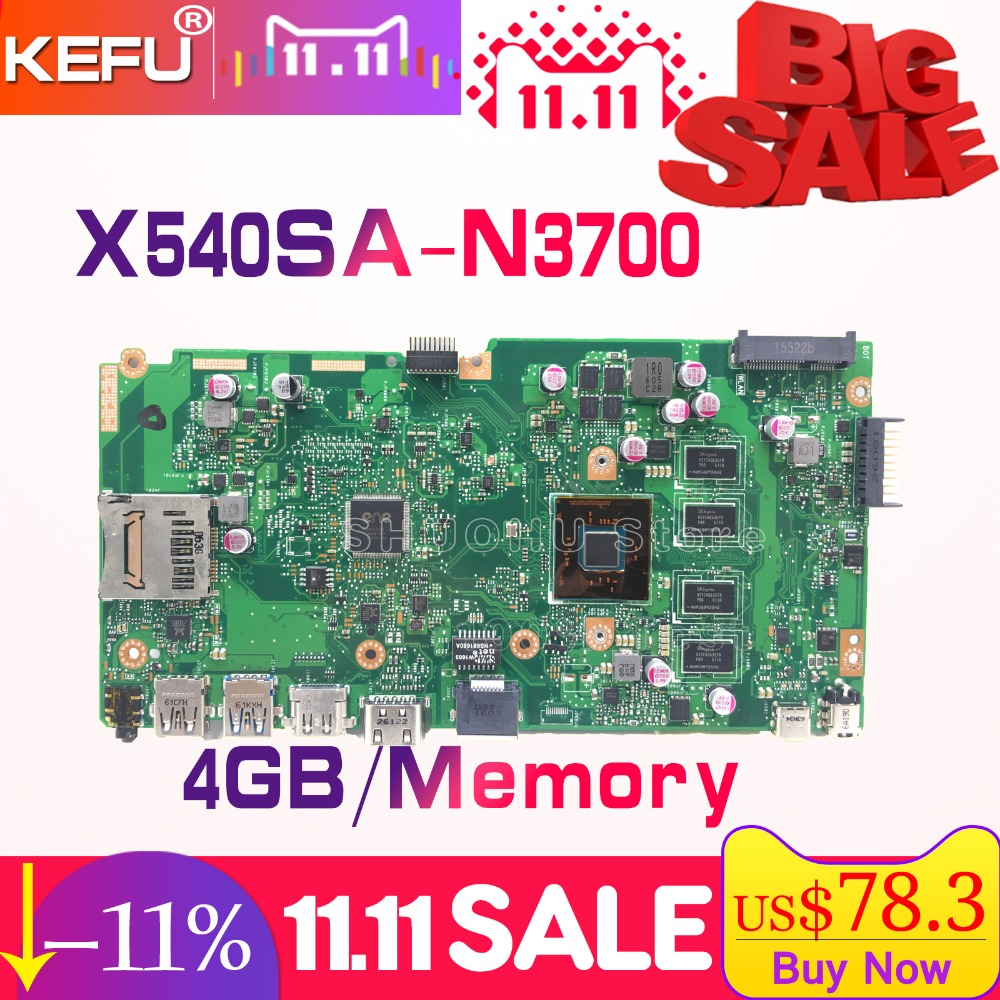 SHELI X540S For ASUS VivoBook X540SA F540S CPU N3700 Memory 4GB laptop motherboard tested 100% work original mainboard