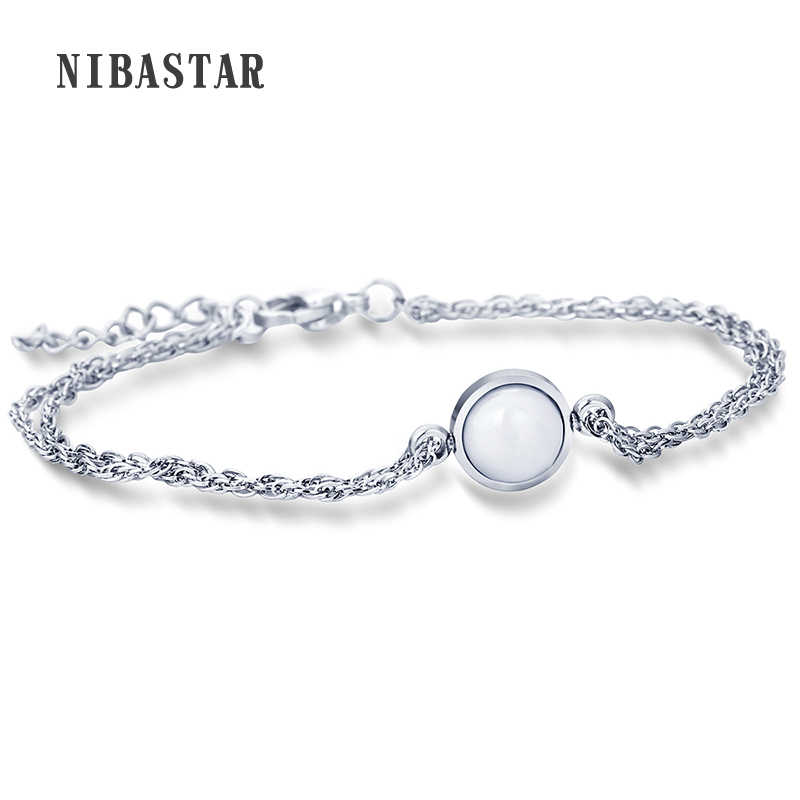 NIBA Top Quality Simple Design Silver Color Bracelet Party Jewelry Genuine Clear Ceramic Charm Bracelet For Women