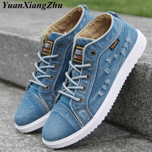 Image 1 - Fashion Denim Man Canvas Shoes Men Shoes Casual High Top Sneakers 2019 Summer Breathable Plimsolls Male Footwear Mens Flats