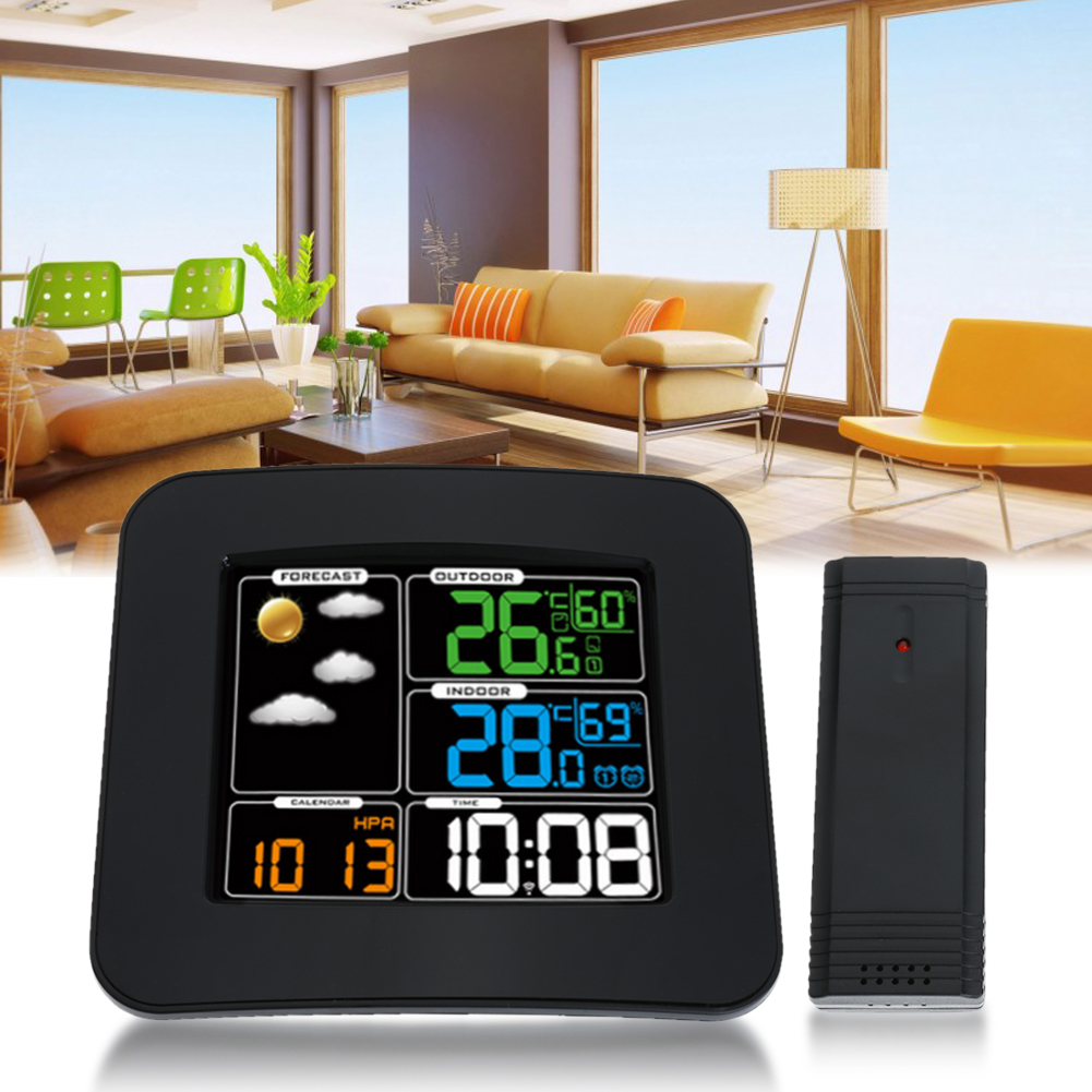Wireless Weather Station Indoor Outdoor Digital Weather Forecast Color Display Thermometer Hygrometer Alarm Clock wireless color weather station indoor outdoor forecast temperature humidity alarm and snooze thermometer hygrometer us eu plug