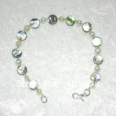 New Arriver Jewellery Beautiful Abalone Shell Coin With White Freshwater Pearls Bracelet 7.5inch 2-8mm Wholesale Free Shipping