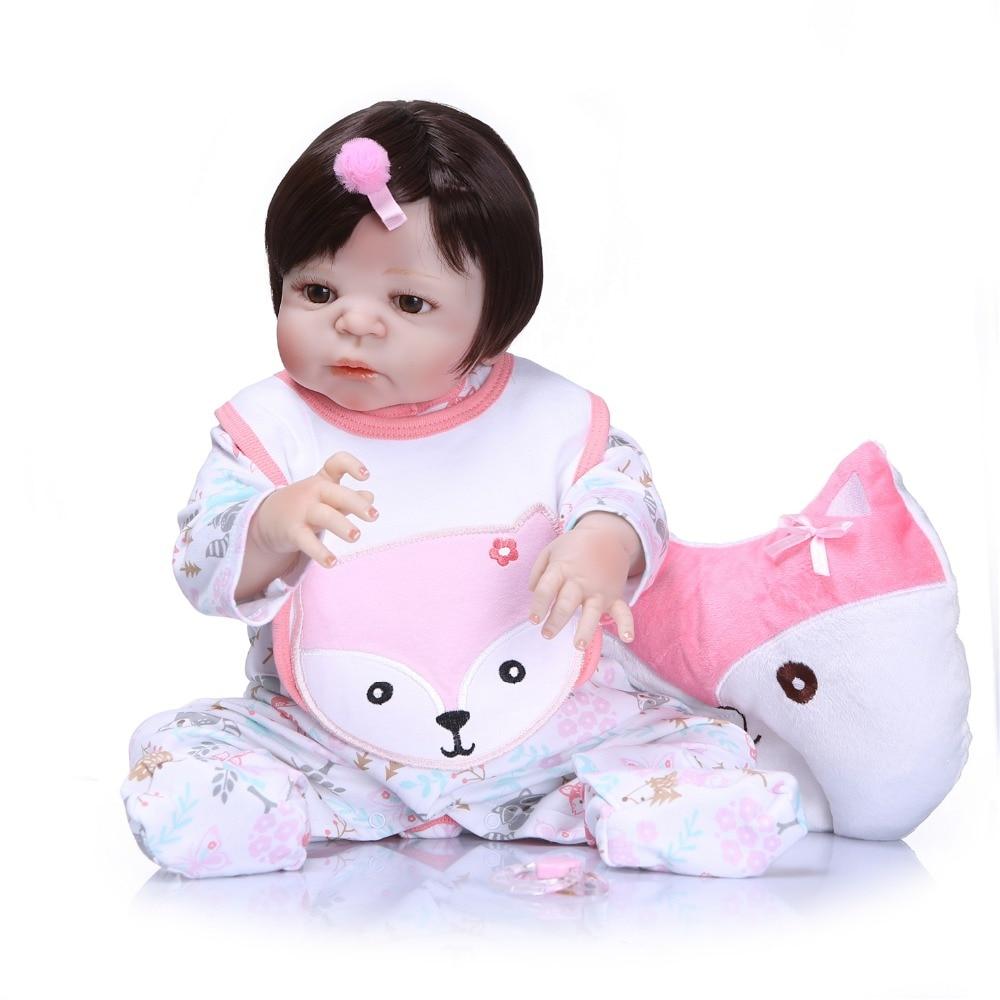 22'' Lifelike Soft Reborn Baby Dolls Newborn Babies Doll Full Vinyl Silicone Body Doll For Toddler bebe Toy Girls Birthday Gift