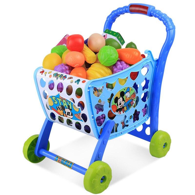 2019 nouveau Disney Mickey série supermarché enfant voiture jouer jouets Simulation enfant jouer maison jouets chariot ensemble cadeaux d'anniversaire