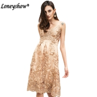 Loneyshow High Quality Golden Crochet Lace Embroidery Women Dress Elegant Party Dresses Summer 2017 Casual Xmas