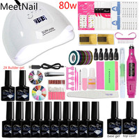 A7 36/48/80w Acrylic Nail Kit Nail Extension Kit All for Everything Gel Polish Set Manicure Tools Beauty Art Builder Tools
