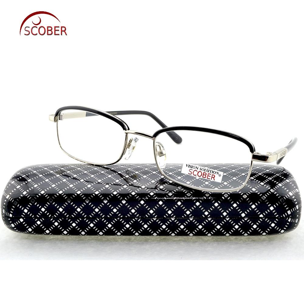 = SCOBER = Mode Ögonbryn Titanlegering Läsglasögon Män Kvinnor Anti-trötthet Glaslinser +0.75 +1 +1.25 +1.75 +1.5 till +4