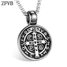 ZFVB Vintage Saint Benedict Medal Pendant Necklace Men 316L Stainless steel Never Fade Catholic Church Cross Pendants Jewelry(China)