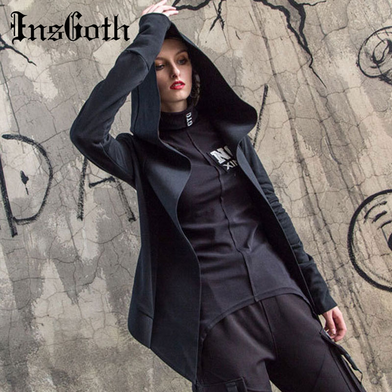 InsGoth Black Hoodie Gothic Witch Top Women Autumn Female Loose Punk Coats Solid Hooded Plus Size Chic Fashion Streetwear Tops