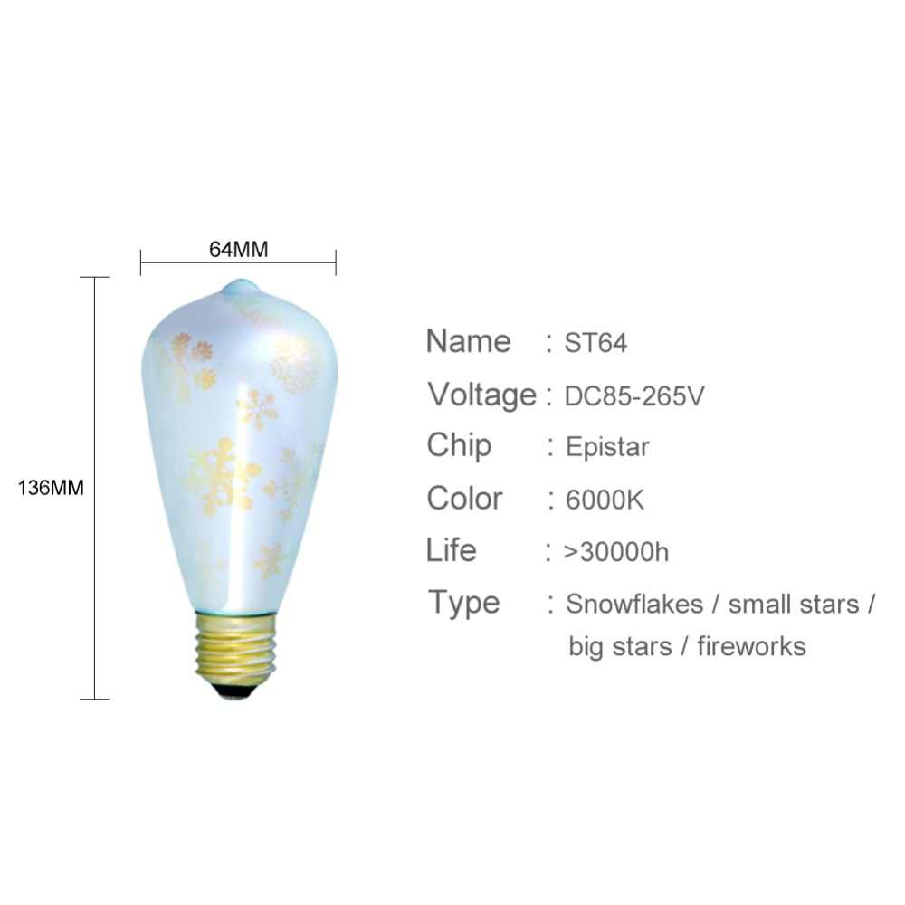 Светодиодный лампочки E27 светодиодный 3D фейерверк декоративная лампа Эдисона ST64 220 V 110 V вечерние лампа праздничное Рождественское украшение для дома