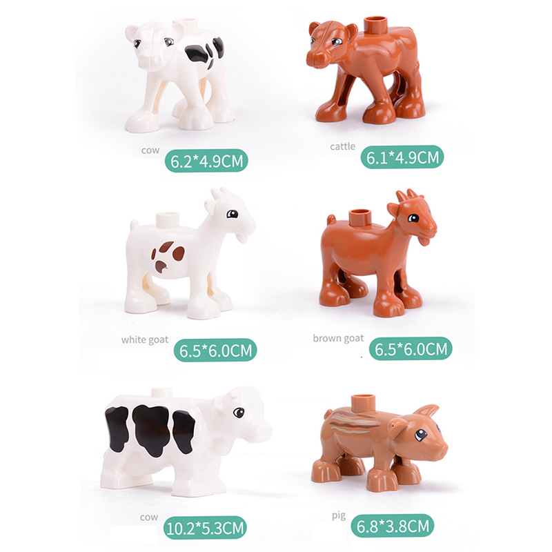 5Pcs-50pcs DIY Big Size Farm Dinosaur Animal Series Building Blocks Sets Bricks Compatible with Duploe Toys  for children  (11)