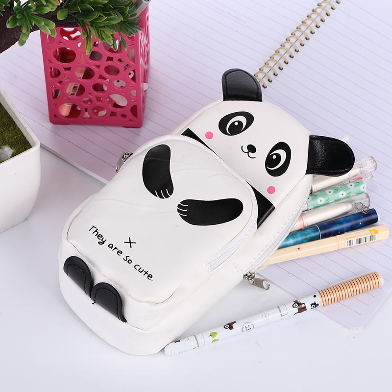 Pencil Case Stationery Bag Panda Type Student Child Cosmetic Storage Bags School Supplies Make Up Cartoon Cute Pen Box