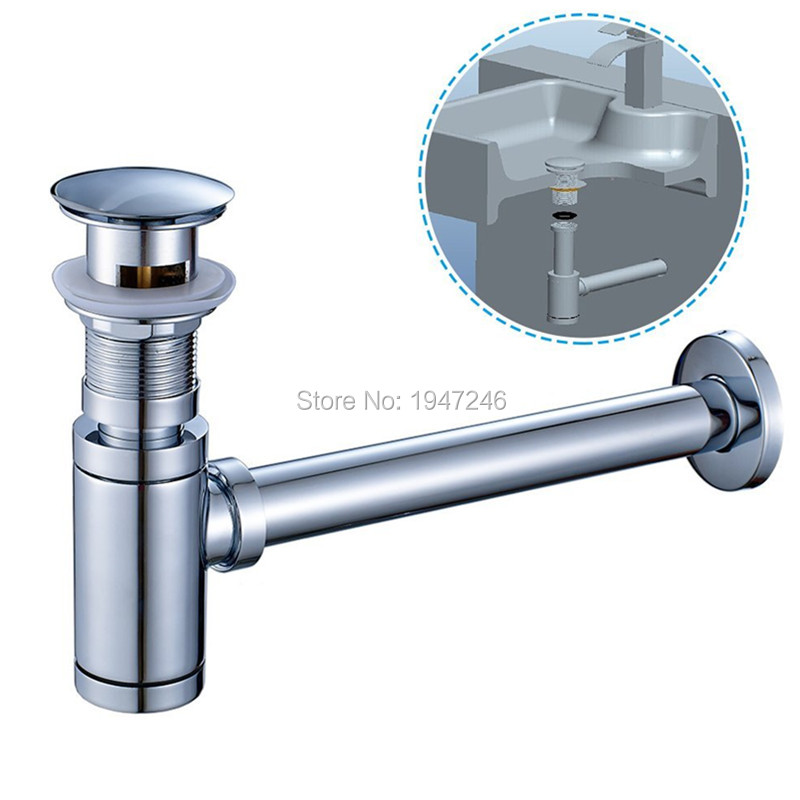 bathroom kitchen vessel vanity sink waste drain p trap kit and pop up drain stopper with overflow polished chrome. beautiful ideas. Home Design Ideas