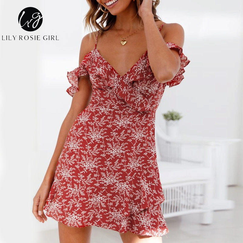 Lily Rosie Girl Wine Red Print Boho Dress Cold Shoulder Spaghetti Strap Short Sexy Drees V Neck Beach Women Dress Vestidos ...