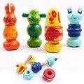 3 unids cartoon animal tornillo tuerca de bloques de ensamblaje bloques de madera combinación de tuerca juguetes educativos de los niños del cabrito Envío gratis