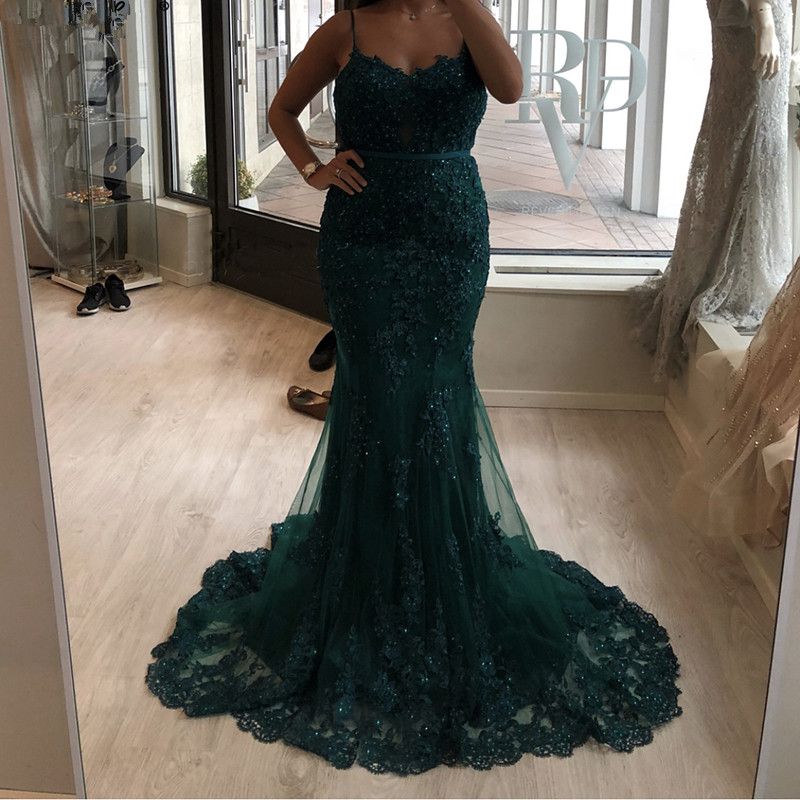 Green Muslim   Evening     Dresses   2019 Mermaid Spaghetti Straps Tulle Lace Beaded Islamic Dubai Saudi Arabic Long Formal   Evening   Gown