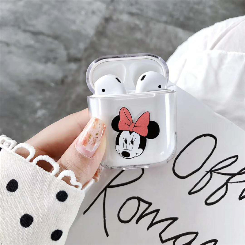 Cartoon Mickey Minnie Transparent Hard PC Case For Apple AirPods Case Wireless Bluetooth Earphone Protective Cover Accessories in Earphone Accessories from Consumer Electronics